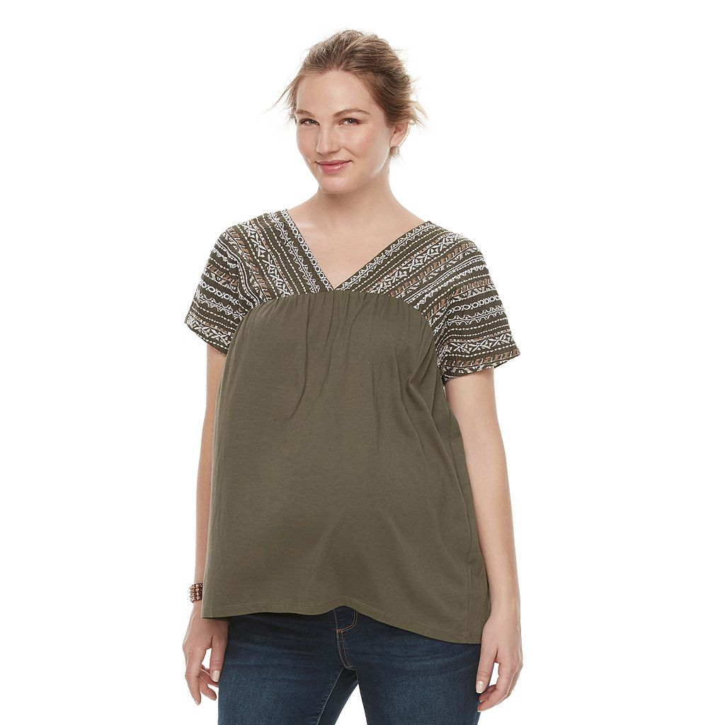 Maternity a:glow Embroidered Dolman Tee
