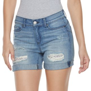 Women's Juicy Couture Ripped Glitter Jean Shorts