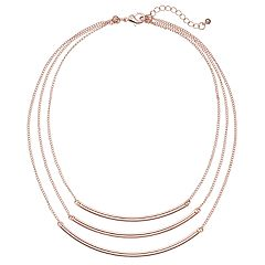 Curved Bar Layered Necklace