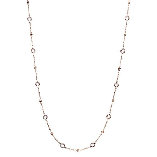 Apt. 9® Hammered Bead & Round Stone Long Station Necklace