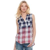 Women's Rock & Republic® Sleeveless Plaid Shirt
