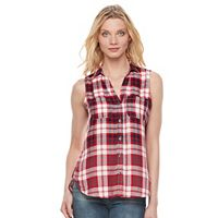 Women's Rock & Republic® Sleeveless Plaid Shirt