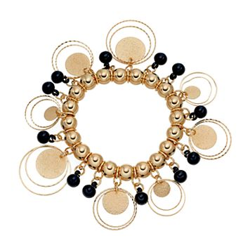 Black Bead & Glittery Disc Stretch Bracelet