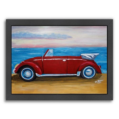 "Americanflat ""Red Bug with Sea"" Framed Wall Art"