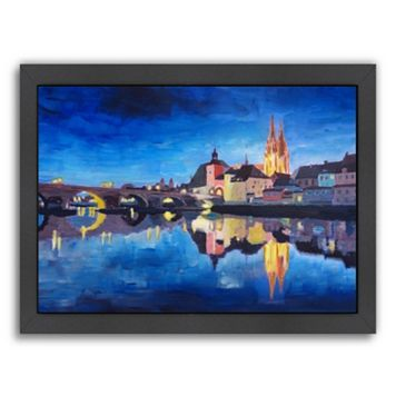 Americanflat ''Regensburg Bavaria at Dawn'' Framed Wall Art