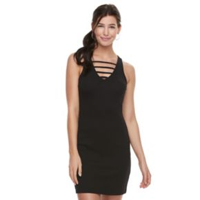 Juniors' Mudd® Ladder V-Neck Bodycon Dress