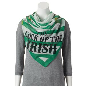 'Luck of the Irish'' Shamrock & Stripes Square Scarf