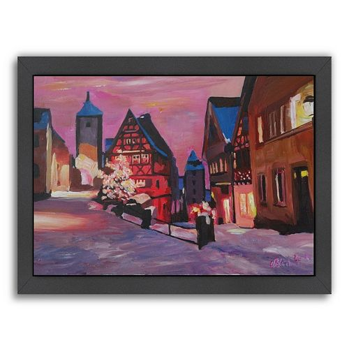 Americanflat ''Rothenburg Tauber Winter Dream Land'' Framed Wall Art
