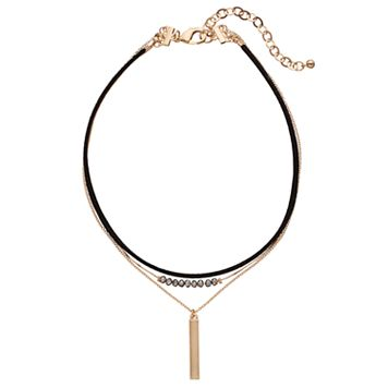 Layered Faux Suede, Bead & Vertical Bar Choker Necklace