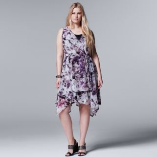 Plus Size Simply Vera Vera Wang Soft Hankerchief Dress