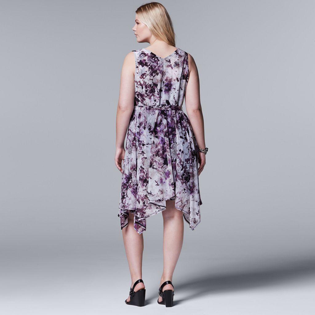 Plus Size Simply Vera Vera Wang Soft Hankerchief Dress