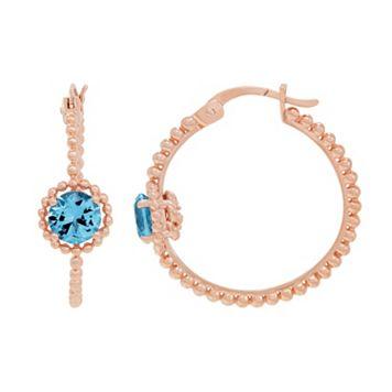 David Tutera 14k Rose Gold Over Silver Simulated Blue Topaz Hoop Earrings