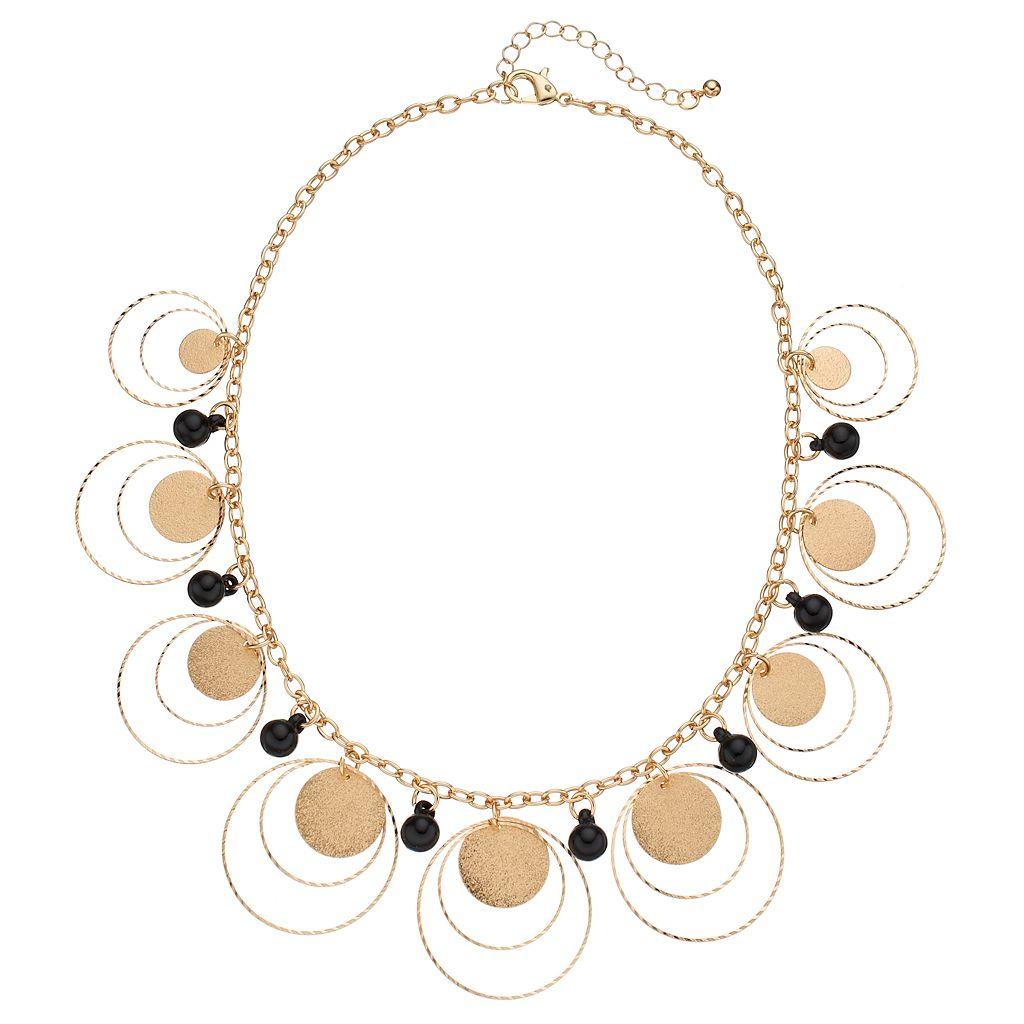 Black Shaky Bead & Orbital Circle Statement Necklace