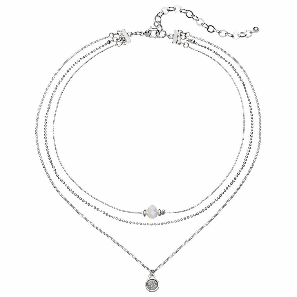 Bead & Glittery Disc Layered Choker Necklace
