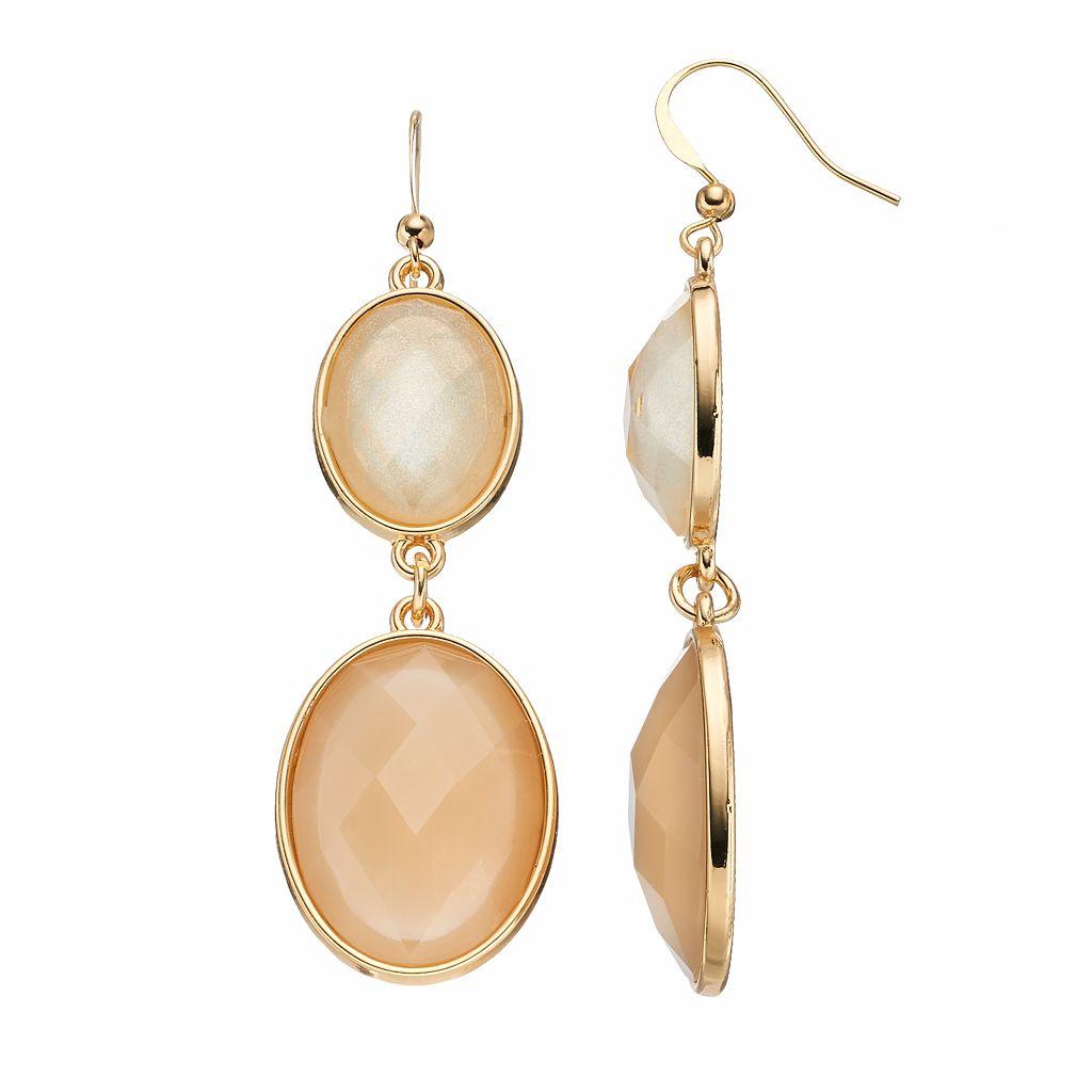 Double Oval Nickel Free Drop Earrings