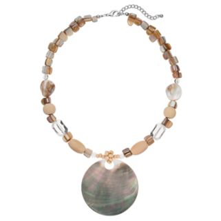 Beaded Composite Shell Disc Necklace