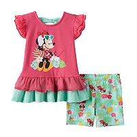 Disney's Minnie Mouse Baby Girl Graphic Tunic & Floral Shorts Set