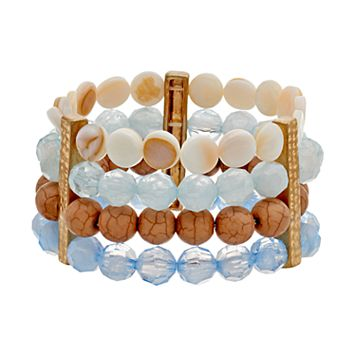 Wooden & Blue Bead Multi Row Stretch Bracelet
