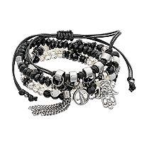 Hamsa & Tassel Charm Beaded Bracelet Set