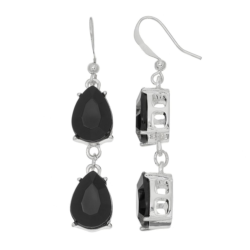 Black Double Teardrop Nickel Free Linear Earrings