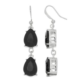 Black Double Teardrop Nickel Free Linear Earrings