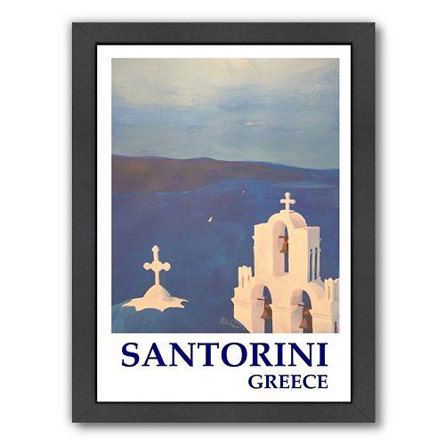 Americanflat ''Santorini Greek Island Classical Poster'' Framed Wall Art