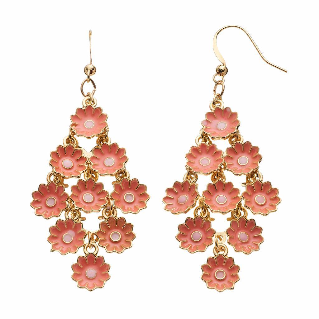Peach Flower Nickel Free Kite Drop Earrings