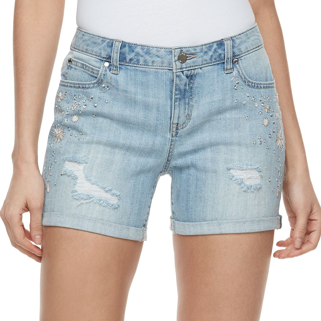 Women's Jennifer Lopez Embellished Ripped Jean Shorts