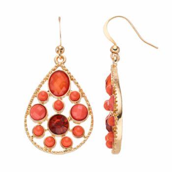 Peach Stone Nickel Free Teardrop Earrings
