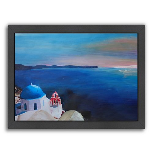 Americanflat ''Santorini Greek Island View'' Framed Wall Art
