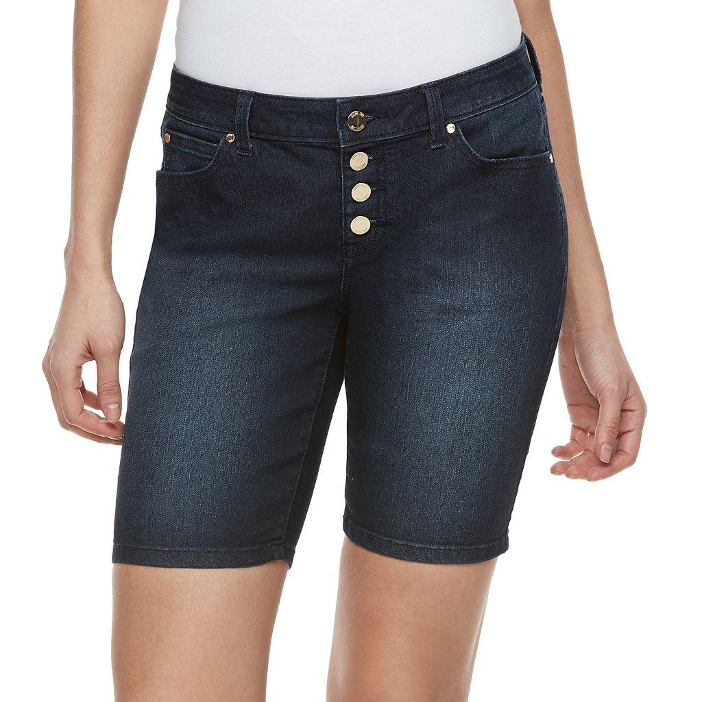 Women's Jennifer Lopez Button Fly Bermuda Jean Shorts