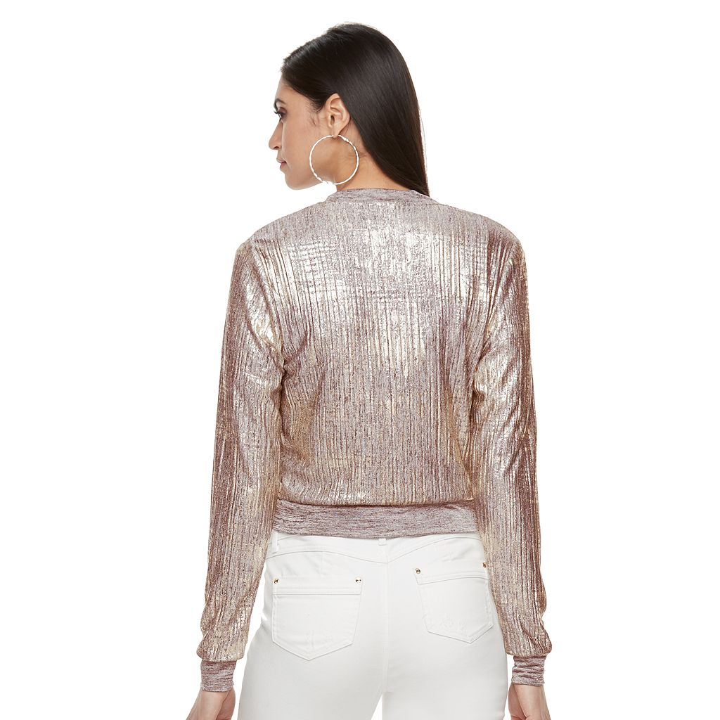 Women's Jennifer Lopez Metallic Crop Bomber Jacket