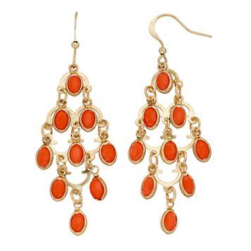 Orange Oval Nickel Free Kite Earrings