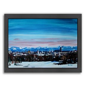 "Americanflat ""Snow Covered Winter Munich"" Framed Wall Art"