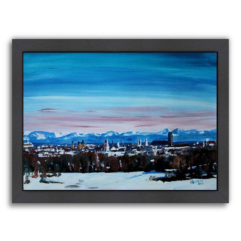 "Americanflat ""Snow Covered Winter Munich"" Framed Wall Art, Medium"