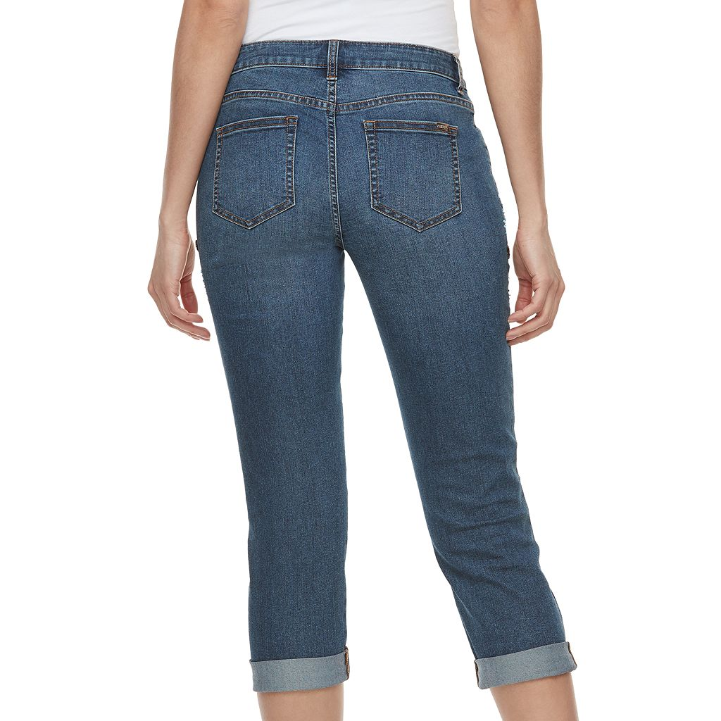 Women's Jennifer Lopez Ripped Embellished Capri Jeans