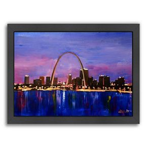 """Americanflat """"St Louis Arch Gateway At Sunset"""" Framed Wall Art"""