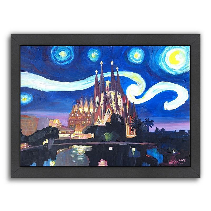 "Americanflat ""Starry Night In Barcelona"" Framed Wall Art, Medium"