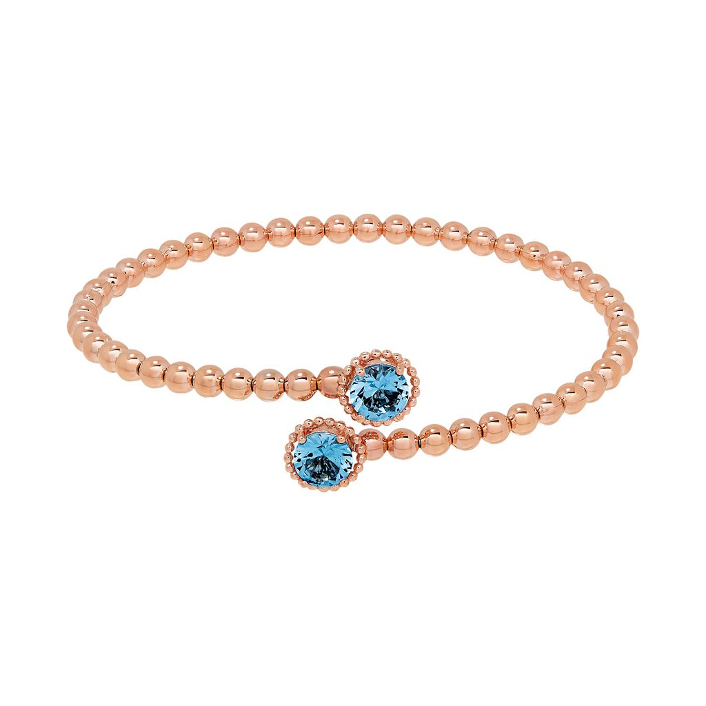 David Tutera 14k Rose Gold Over Silver Simulated Blue Topaz Bypass Bangle Bracelet