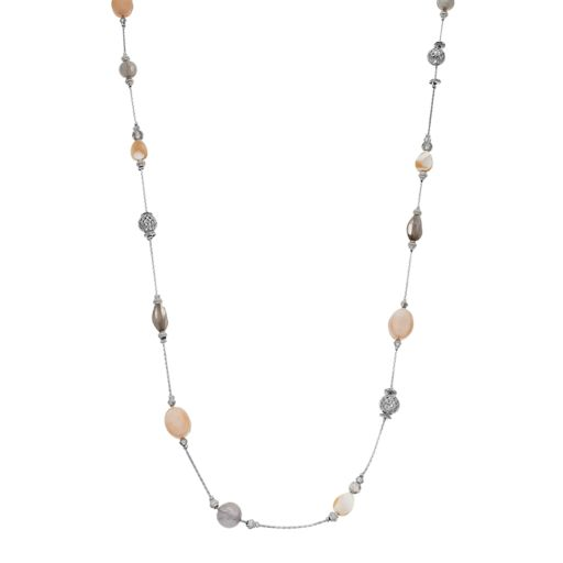 Brown Bead Long Station Necklace