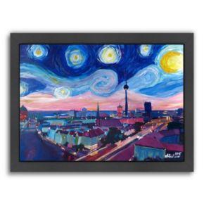 """Americanflat """"Starry Night In Berlin"""" Framed Wall Art"""