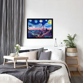 "Americanflat ""Starry Night In Berlin"" Framed Wall Art"