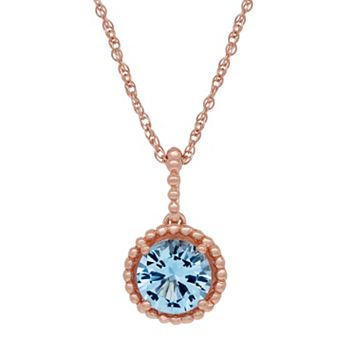 David Tutera 14k Rose Gold Over Silver Simulated Blue Topaz Pendant