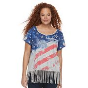 Plus Size Rock & Republic® Fringe Flag Tee