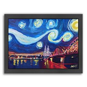 """Americanflat """"Starry Night In Cologne"""" Framed Wall Art"""