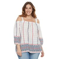 Plus Size SONOMA Goods for Life™ Printed Cold-Shoulder Top
