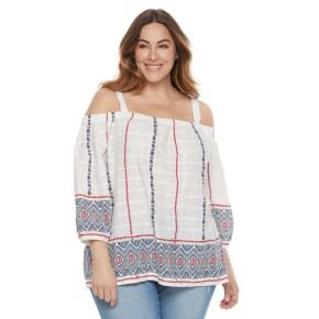 Plus Size SONOMA Goods for Life? Printed Cold-Shoulder Top