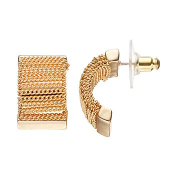 Dana Buchman Chain Half Hoop Earrings