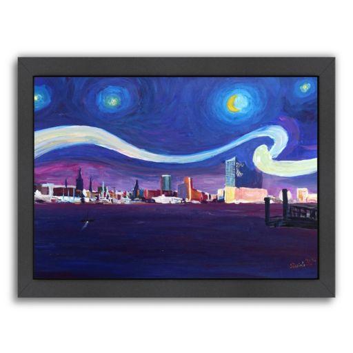 "Americanflat ""Starry Night In Hamburg"" Framed Wall Art"