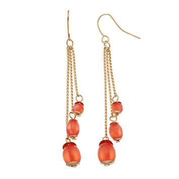 Orange Bead Tiered Drop Earrings